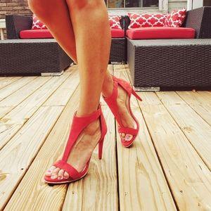 Katherine Kelly Red Suede T-Strap Stilettos